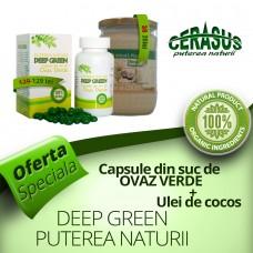 Pachet PROMO: Capsule din suc de ovăz verde, Deep Green Puterea Naturii  + Ulei de cocos 580 ml